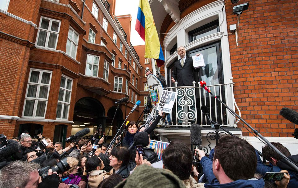 WikiLeaks founder Julian Assange addressed media and supporters earlier this year from the balcony of Ecuador's embassy in central London.