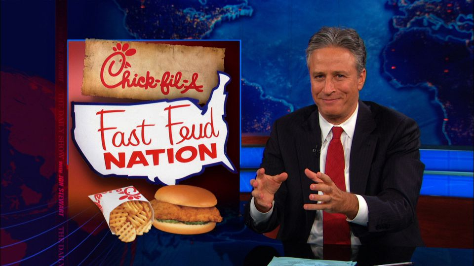 "Former host Jon Stewart in a segment about fast food on ""The Daily Show."""