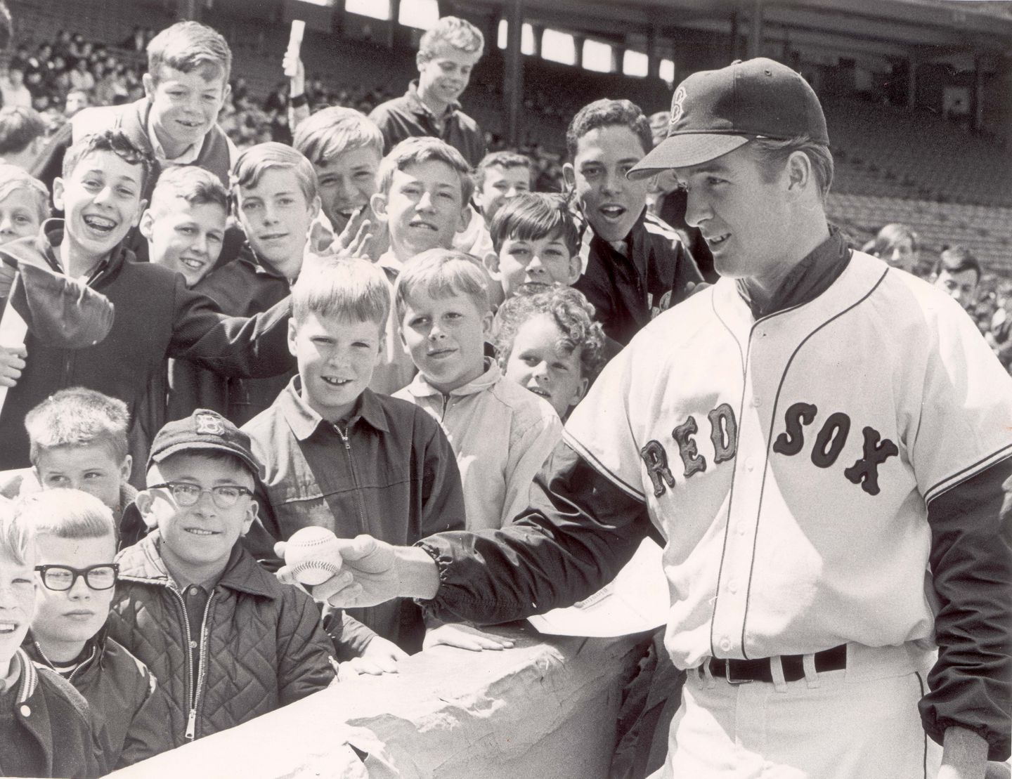 """""""Gentleman'' Jim Lonborg, who would become the ace of the staff, helped out at a baseball clinic at Fenway on April 29."""
