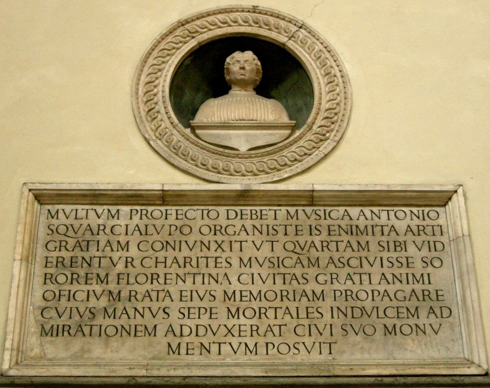 A bust of Antonio Squarcialupi in a Florence cathedral.