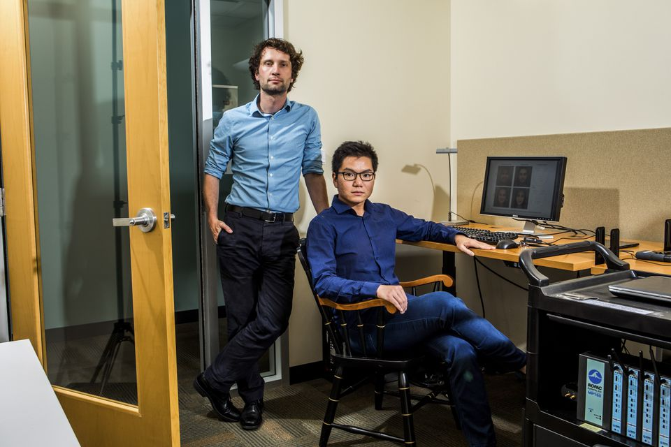 Stanford researchers Michal Kosinski and Yilun Wang, co-authors of a study that claims to show that a computer program can detect sexual orientation from photos of faces.
