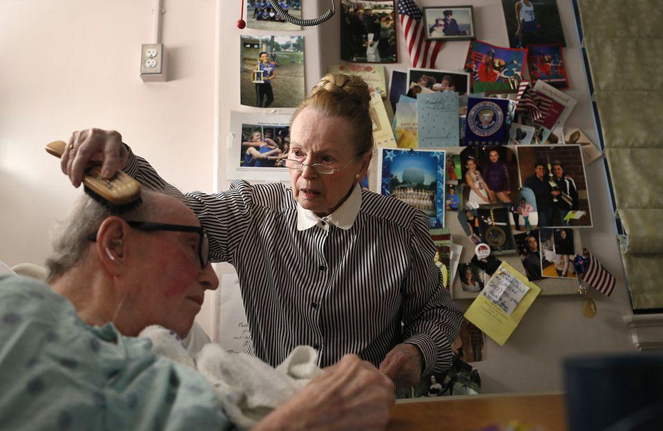 Helga Amidon visited her husband Charles, a decorated veteran, at the Bedford VA.