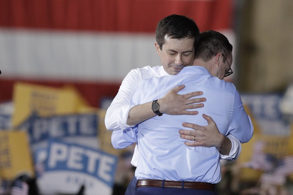 South Bend, Ind., Mayor Pete Buttigieg (left) hugged his husband, Chasten, April 14 after announcing he will seek the Democratic presidential nomination.