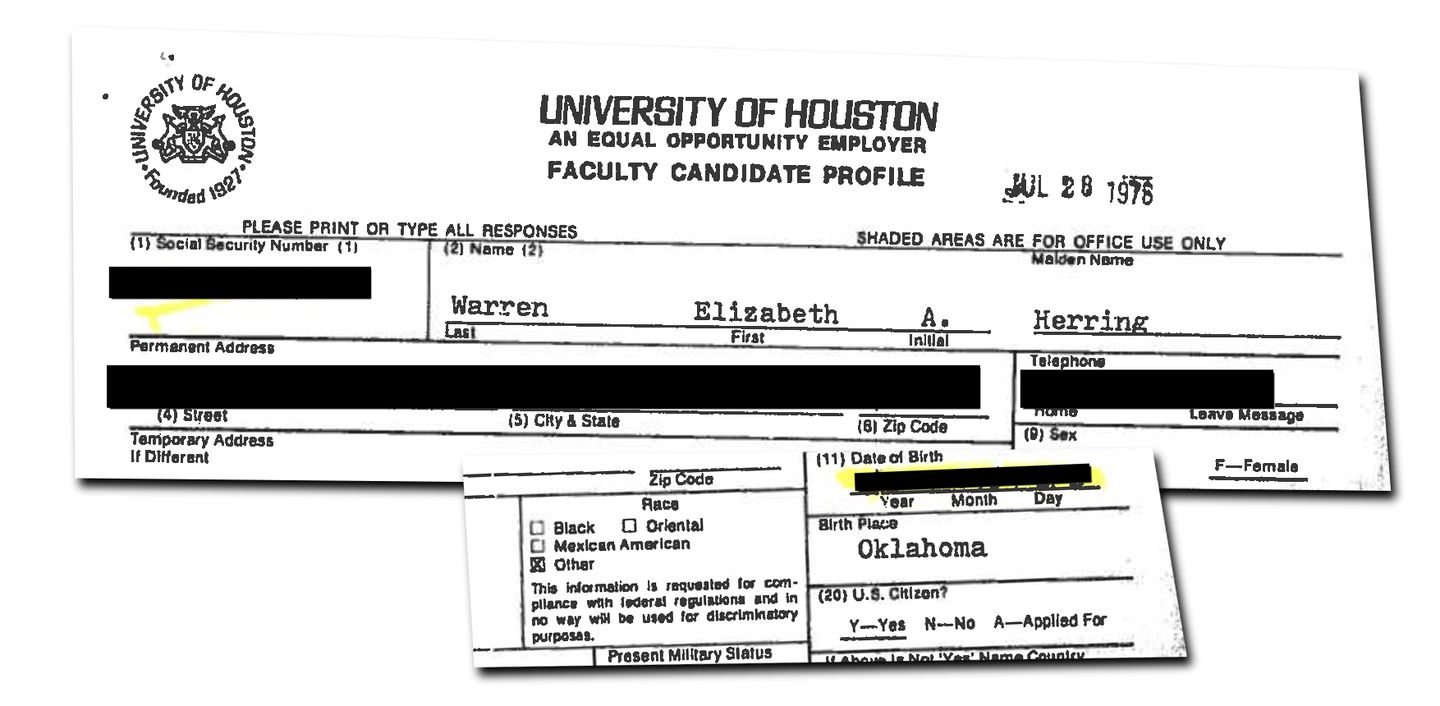 """At the University of Houston, where she was on the law faculty, Warren checked the ethnicity box for """"other"""" — but """"white"""" was not an option for her to pick."""