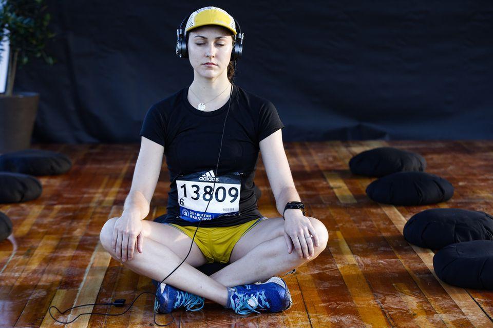 Runner Victoria Ballestero meditated at the athelete's village on Monday.