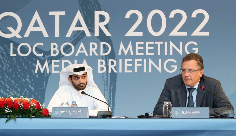 FIFA Secretary General Jerome Valcke (R) and Hassan al-Thawadi, head of the Qatar 2022 World Cup organising committee at a press conference in February.