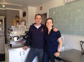 Josiah Mayo and Katherine Reed in their Chequessett Chocolate and Cafe.
