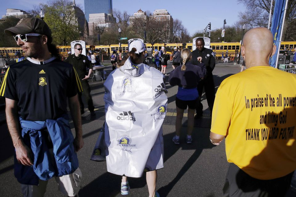 Runners passed through a security check in Boston before the race.