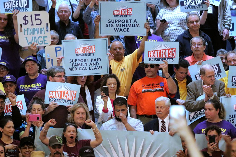 The Raise Up Massachusetts coalition rallied at the State House in May.