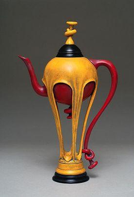 Milo Mirabelli, Balloon Teapot, 2007. Basswood, ebony wood, acrylic paint.