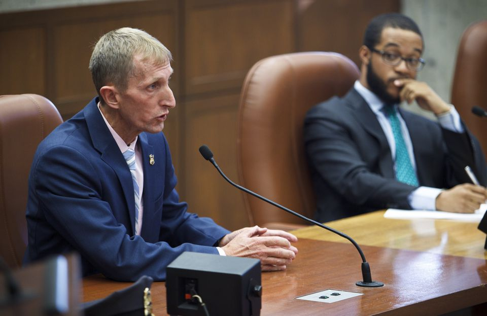 Boston Police Commissioner William Evans spoke during a City Council hearing on the issue of police body cameras.