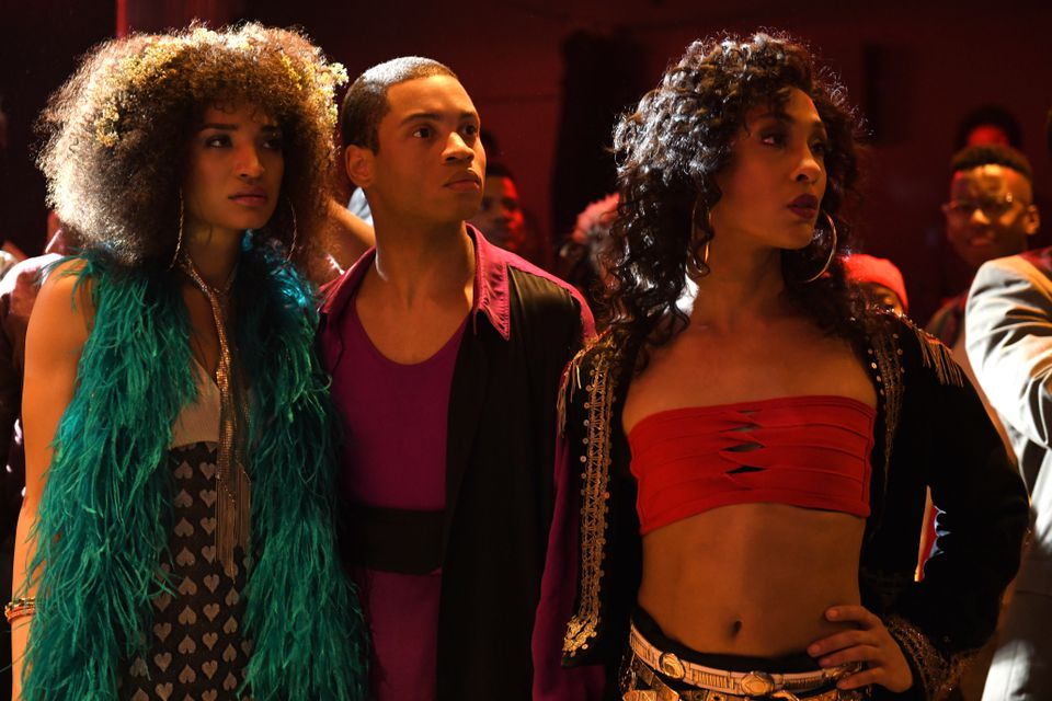 From left to right: Indya Moore as Angel, Ryan Jamaal Swain as Damon, and MJ Rodriguez as Blanca.