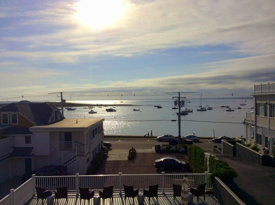 The view of Little Narragansett Bay and the ocean from the inn.