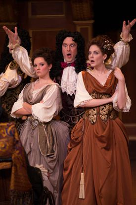 "From left: Mireille Asselin, Jesse Blumberg, and Mireille Lebel in Charpentier's ""Les plaisirs de Versailles."""