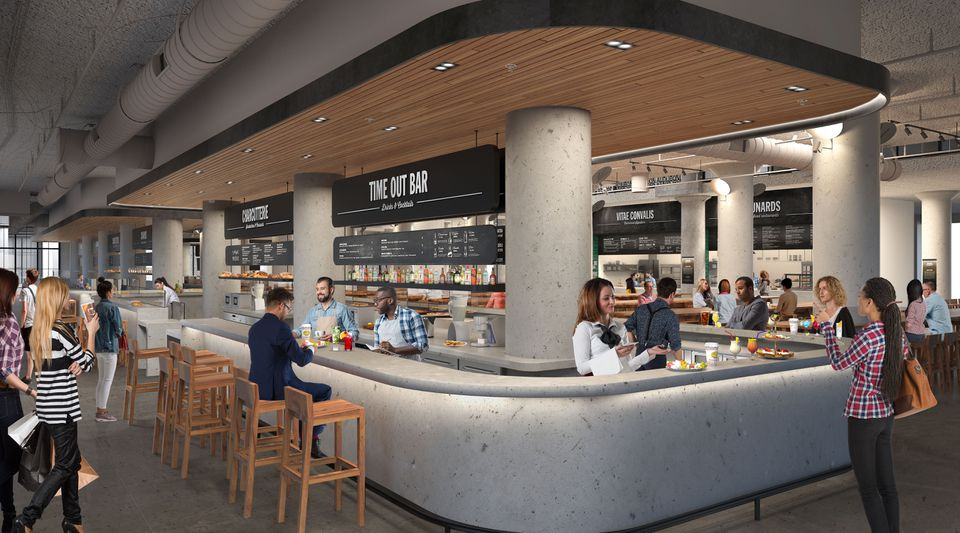 An artist's rendering of the inside of Time Out Market, coming to the former Landmark Center on Park Drive.