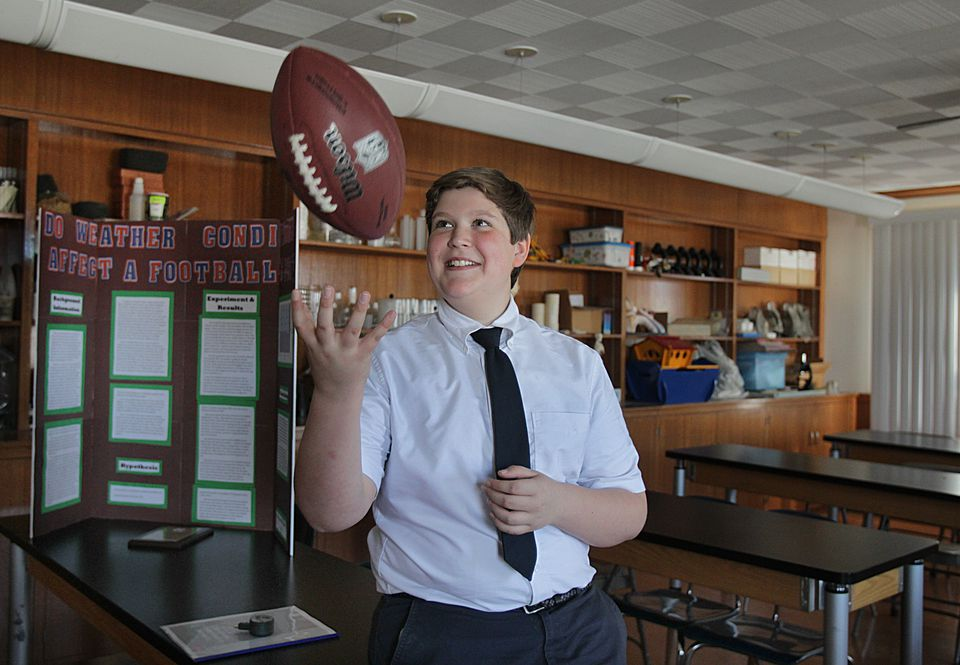 Twelve-year-old Ben Goodell did a science project aimed at debunking the Deflategate controversy.