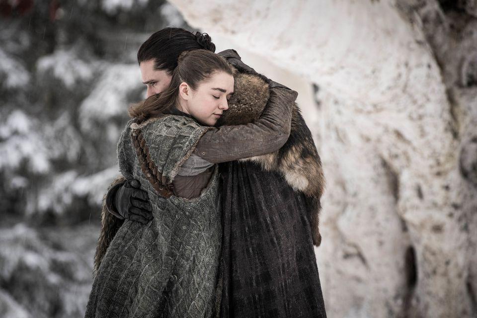 "Maisie Williams (as Arya Stark) and Kit Harington (as Jon Snow) in ""Game of Thrones."""