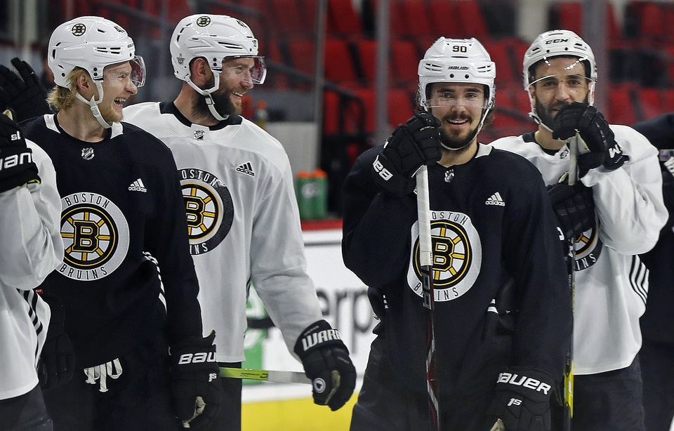 The mood was light as the Bruins practiced on Wednesday.