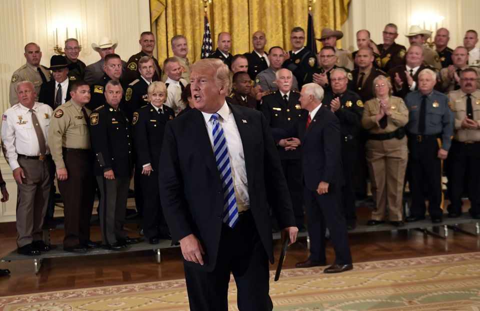 President Trump responded to a reporter during the sheriffs' event.