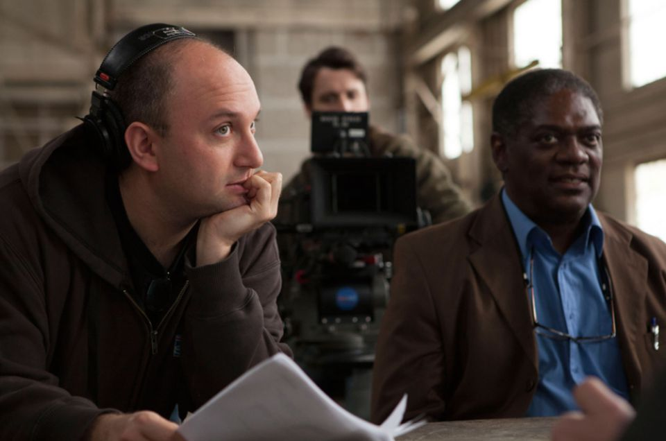 "Director Don Schechter (left) with actor Johnny Lee Davenport on the set of ""Ascendants: Raven."""