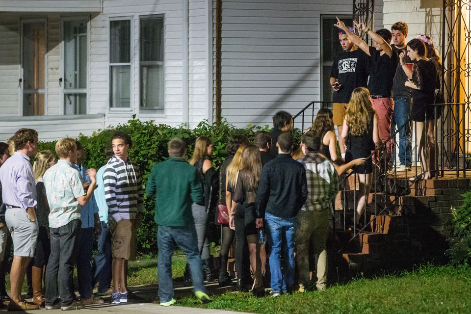 Longtime residents of college neighborhoods, like this one on Foster Street in Brighton, say late-night rowdy parties cut into their sleep and their quality of life.