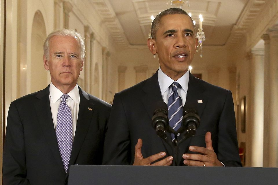 President Barack Obama was accompanied by Vice President Joe Biden.