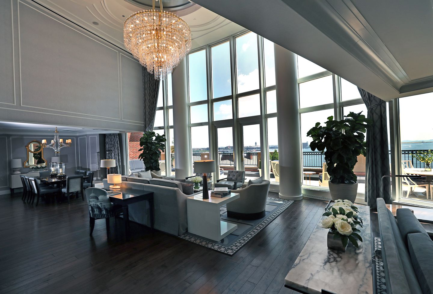 The main living area of the new, $15,000-a-night Presidential Suite at the Boston Harbor Hotel in Boston. This is the most expensive hotel room in Boston.