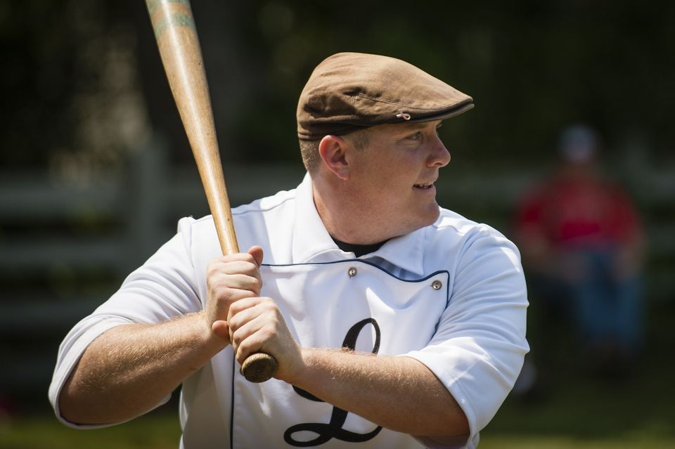 Brian Sheehy at bat for the Lowell Base Ball Nine.