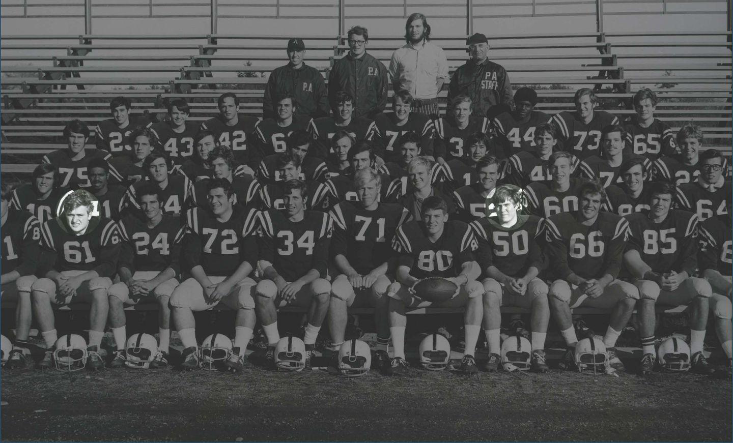 The team photo of the 1970 Andover football squad, featuring Bill Belichick (No. 50) and Ernie Adams (No. 61).