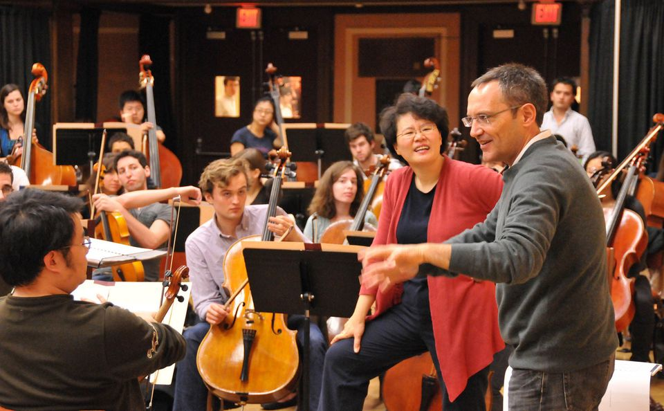 """Composer Osvaldo Golijov (right) visited the New England Conservatory last October to prepare the East Coast premiere of his piece """"Sidereus.''"""
