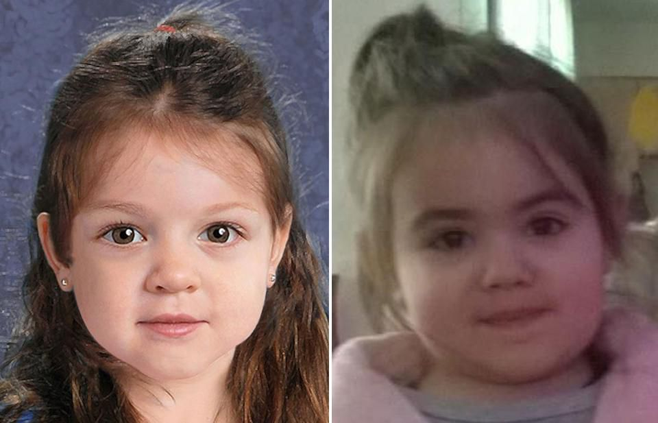 Bella Bond (right) was identified as Baby Doe, pictured in an artist's rendering at left.