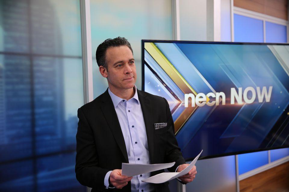 NECN anchor Brian Shactman sports the no-tie look on set.