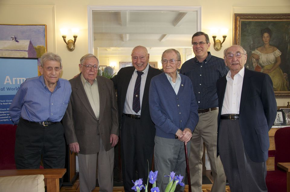 """Rick Beyer (second from right) and """"Ghost Army"""" vets (from left): Jack Masey, Seymour Nussenbaum, Nick Leo, John Jarvie, and Gil Seltzer."""
