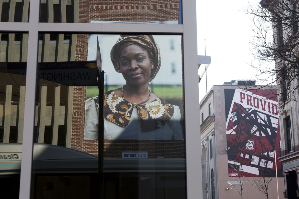 "A portrait of Omowunmi Martins is part of Mary Beth Meehan's installation ""Seen/Unseen"" in Providence."