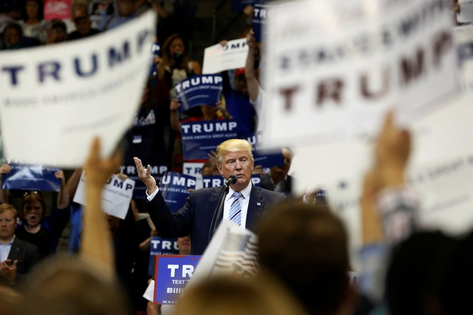 Republican US presidential candidate Donald Trump held a rally with supporters in Billings, Montana.