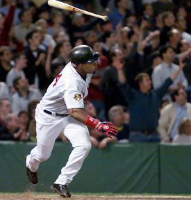 Manny Ramirez and many fans thought he had won the game with this hit in the 12th inning, but it ended up slamming off the wall for a single.