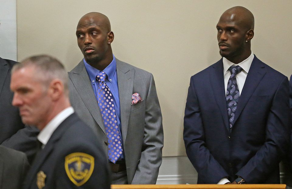New England Patriots players Devin and Jason McCourty appeared at the State House to express their support of the PROMISE act, a proposal that would overhaul of public school funding.