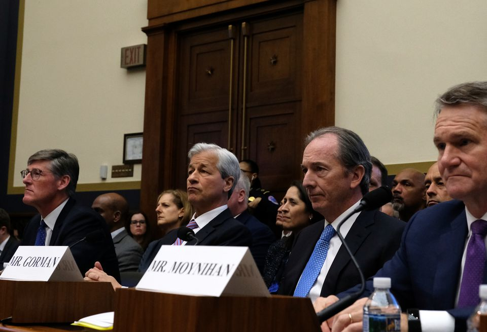 Among the bank CEOs to appear before a House Financial Services Committee hearing Wednesday were (from left) Michael Corbat of Citigroup Inc., Jamie Dimon of JPMorgan Chase & Co., James Gorman of Morgan Stanley, and Brian Moynihan of Bank of America Corp.