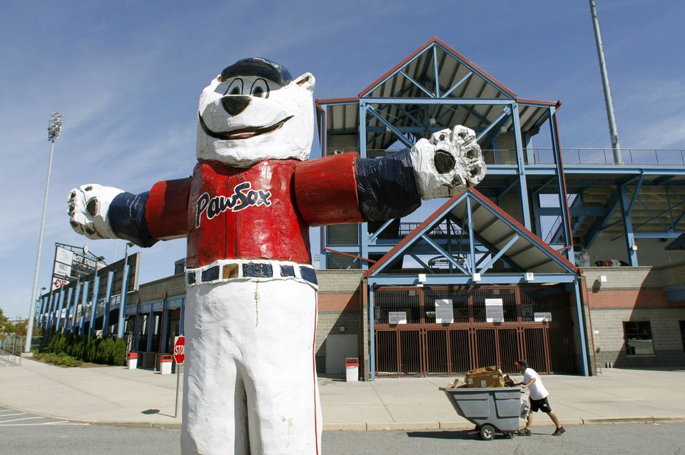 """A statue of the Pawtucket Red Sox baseball team mascot """"Paws"""" outside McCoy Stadium, in Pawtucket, R.I."""