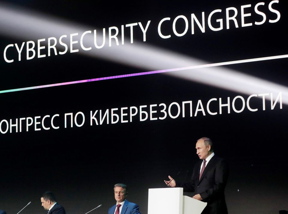 Russian President Vladimir Putin spoke at a cybersecurity conference in Moscow on July 6.