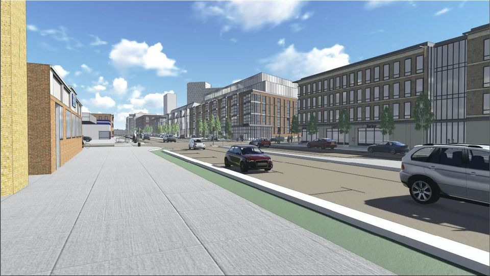 """<span id=""""U81458951717USE"""" style="""" text-transform: uppercase; ;"""">For residents and </span>business owners on the north side of Cambridge Street, the Mass. Pike interchange project would be transformative. Instead of looking out on grassy berms that support highway lanes, they'd see buildings and new neighbors. Northeastern student <b>Kelsey Holmes</b> looked at how today's street grid would meet Beacon Yards. She envisions buildings of up to 250 feet tall in the distance, but much shorter residential and retail buildings along Cambridge Street, which would be redesigned as a boulevard rather than as an off-putting highway access road."""