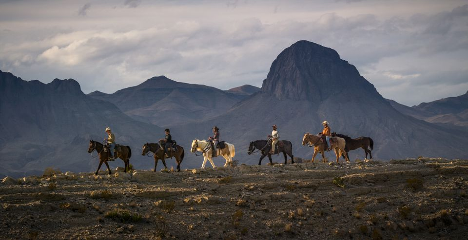 """The film crew riding through Big Bend National Park in """"The River and the Wall."""""""