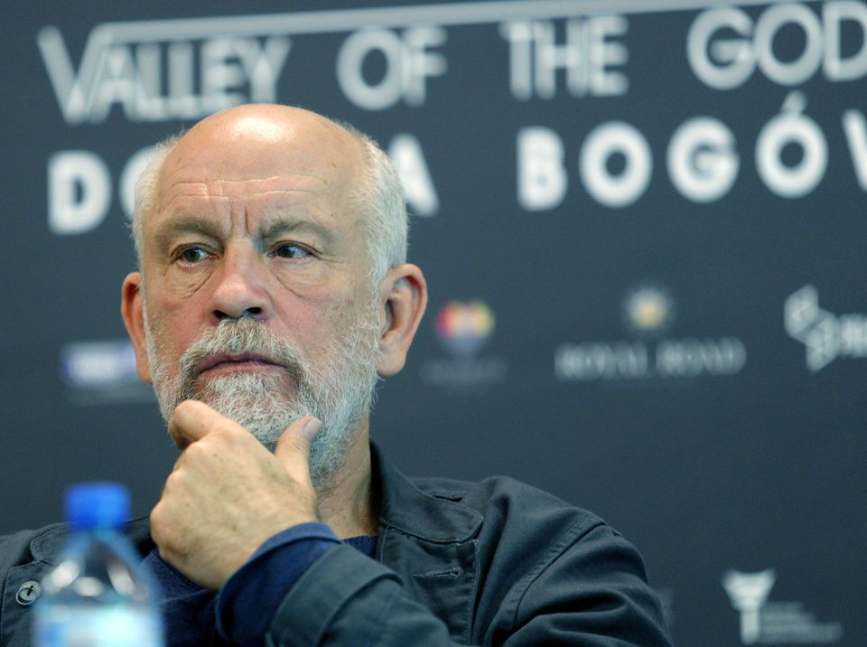 """John Malkovich at a press conference on a set of Lech Majewski's new fantasy-science fiction project """"Valley of the Gods"""" in Katowice, Poland, in May."""