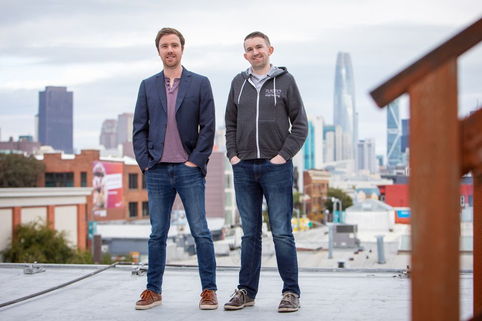 Eliot Buchanan, Plastiq cofounder and chief executive, and chief technology officer Trevor Brosnan at the company's offices in San Francisco.