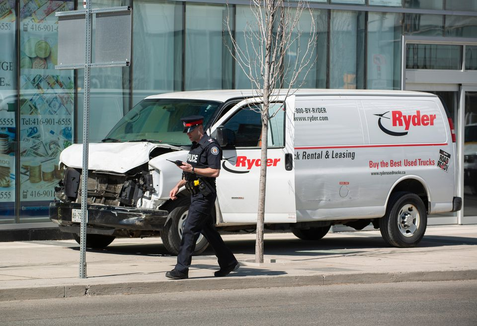 A rented van sat on a sidewalk about a mile from where several pedestrians were injured in northern Toronto.