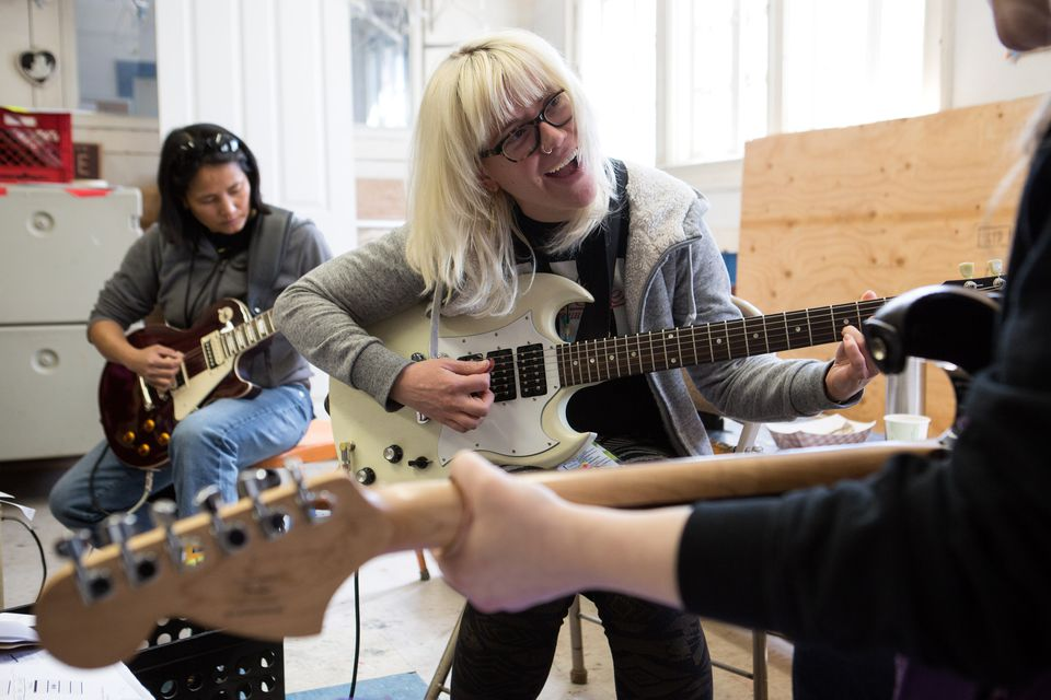 Robin Van Tine (left) and Johanna Walczak at Ladies Rock Camp Boston.