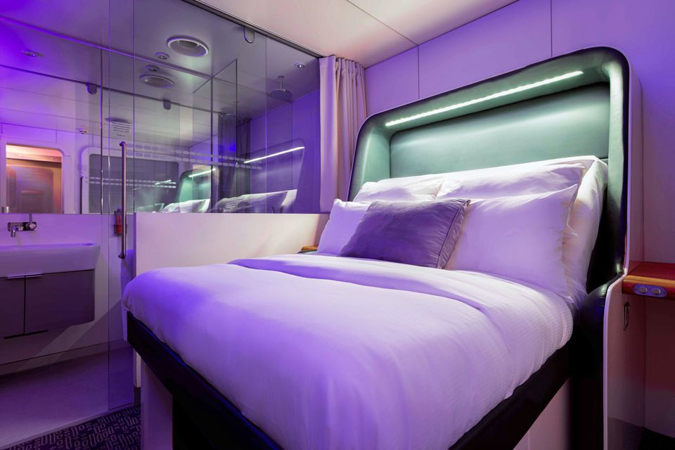 The compact, super-modern YOTELAIR at London's Gatwick Airport.