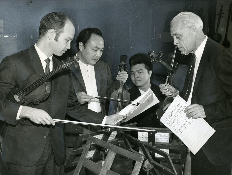 Mr. Knudsen (left) performed with the Japan-America String Quartet at Harvard in 1969.