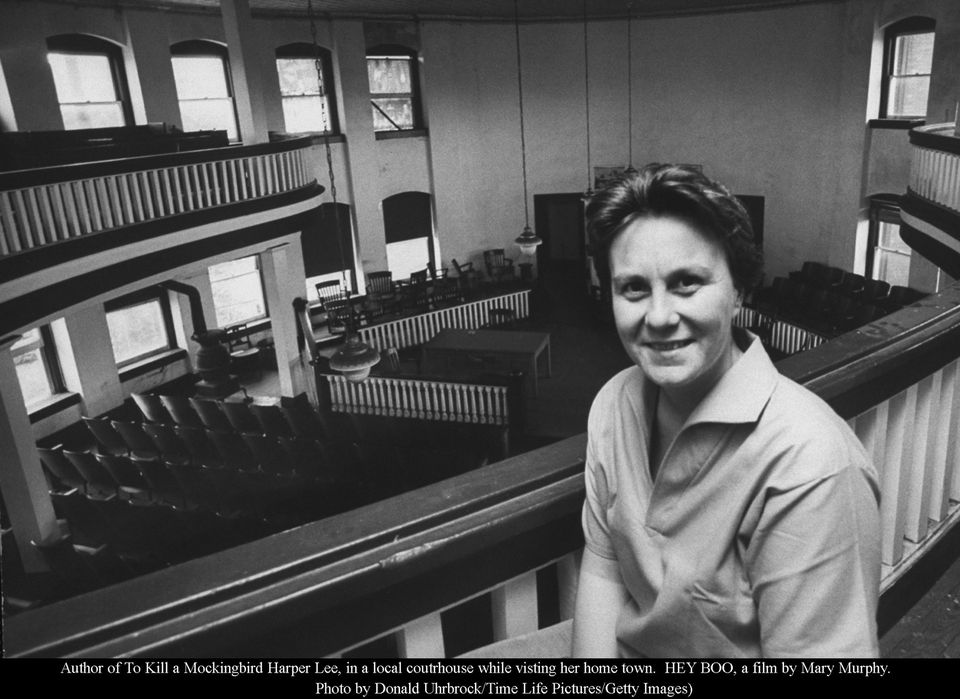 """To Kill a Mockingbird"" author Harper Lee in a local courthouse while visting her hometown of Monroeville, Alabama."