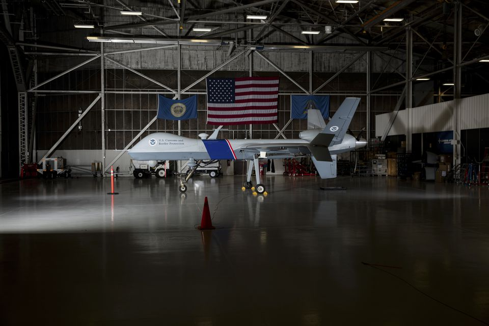 The unmanned aircraft system Predator B in a hangar in Grand Forks, N.D.